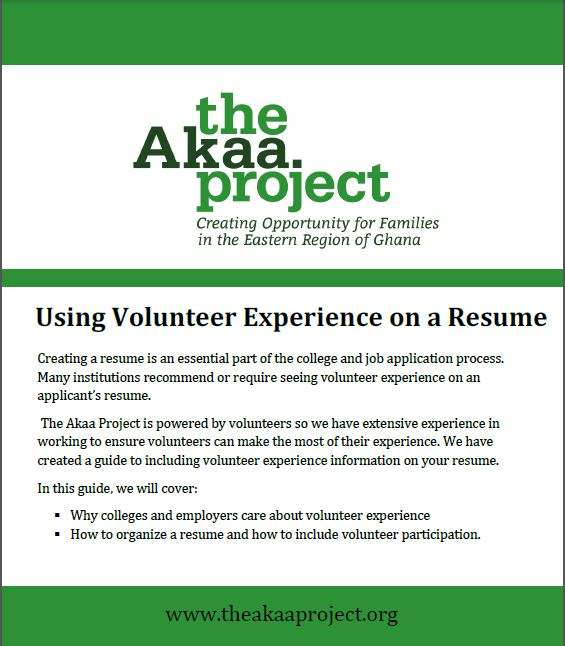 How to organize volunteer experience on a resume The Akaa Project