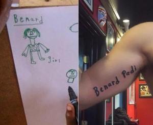 Benard handwriting and tattoo